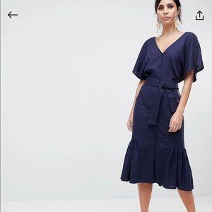 ASOS Linen Pephem Midi Navy Dress US Size 4